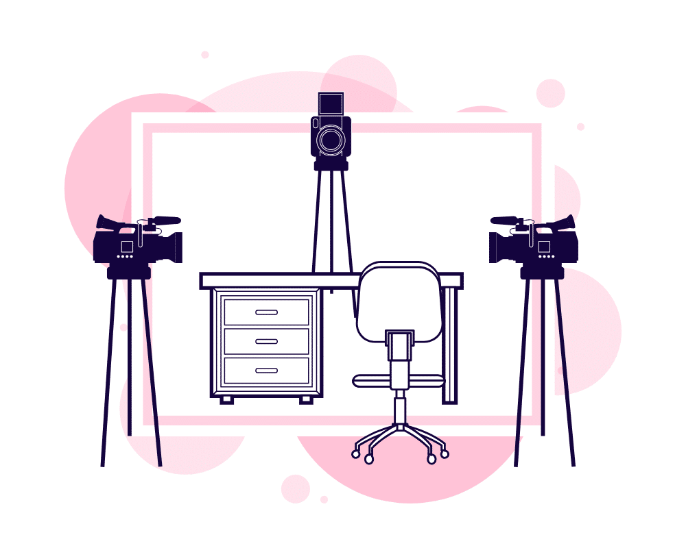 Cameras Graphic for 12 Features Of The Most Impactful Virtual Keynotes - SpeakerFlow